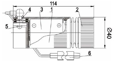 Фонарь имеет защитное минеральное...  Комплектность.  1. Корпус; 2. Оптический модуль; 3.Аккумуляторная батарея; 4...