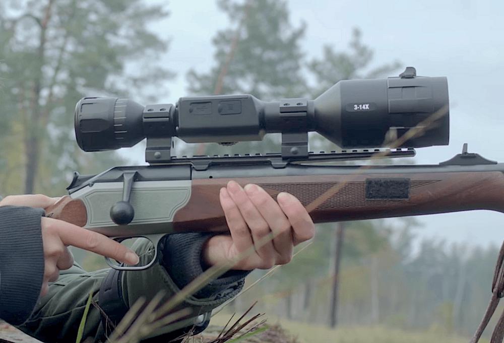 Цифровой прицел ночного видения АТН x-sight 4К 3-14 на карабине