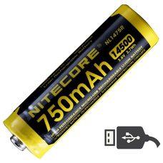 Аккумулятор Nitecore NL1475R 14500 Li-ion 3.7v 750mA USB