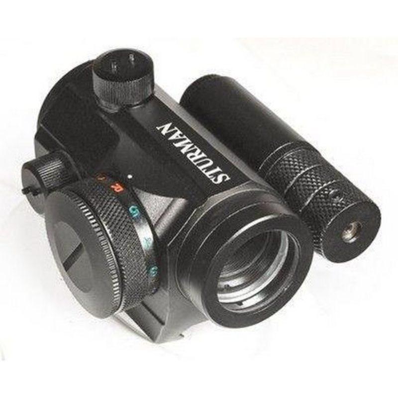 Коллиматорный прицел Sturman 1x20 с лазерным целеуказателем на Weaver