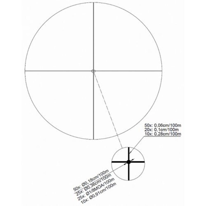 Оптический прицел Kahles K1050 10-50x56 CCW (сетка Crosshair Dot) без подсветки