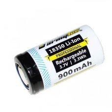 Аккумулятор 18350 Li-Ion 900 мАч. Перезаряжаемый, незащищенный.
